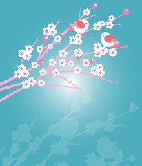 Cherry blossoms with birds