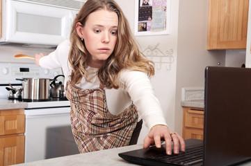 Busy woman multitasking