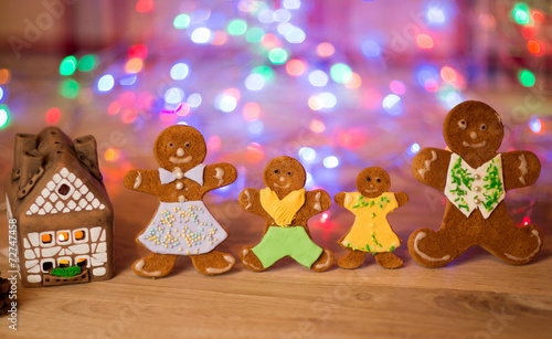 canvas print picture Christmas gingerbread men candles