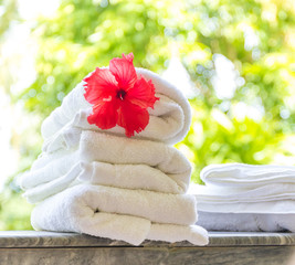 rolled beach or spa towels on natural green background