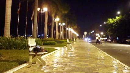 homeless children sleeping on the street