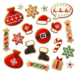 Christmas Cookies Set Santa Claus Theme