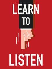 Word LEARN TO LISTEN vector illustration