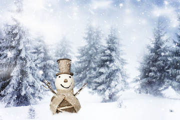 Christmas background with snowman on sunny day