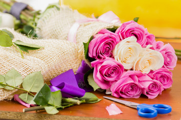 making a special rose bouquet