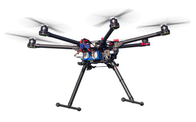 A flying hexacopter without a camera. Includes a clipping path