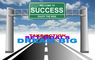welcome to success enjoy the ride dream goals action