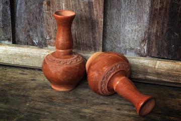 Old clay ceramic vase