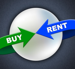 Buy Rent Arrows Indicates Lease Buyer And Purchase