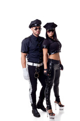 Two sexy strippers dressed in police costume