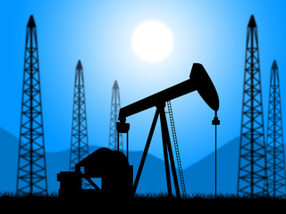 Oil Wells Represents Power Source And Drill
