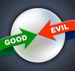 Good Evil Arrows Indicates All Right And Awesome