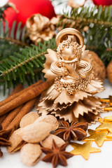 Golden christmas angel on a table