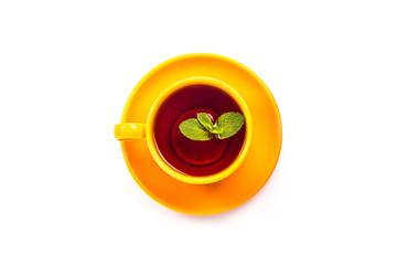 Orange mug with mint
