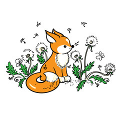 Drawing of baby fox on a meadow