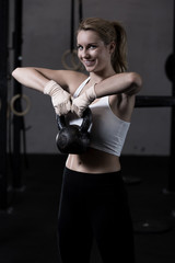 Strengthening arms with kettlebell