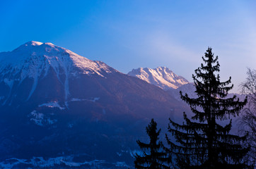 Mountain peaks of slovenian Alps at sunrise