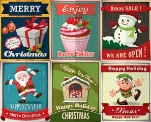 Vintage Christmas poster design set