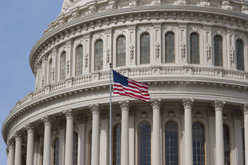 Closeup of US Flag and Capitol Dome in Washington DC
