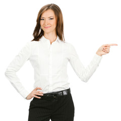 Business woman showing, isolated