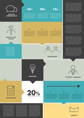 Big flat tab. Infographics template.