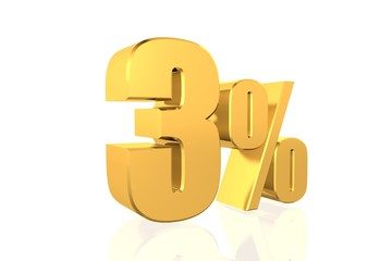 Discount 3 percent off. 3D illustration.