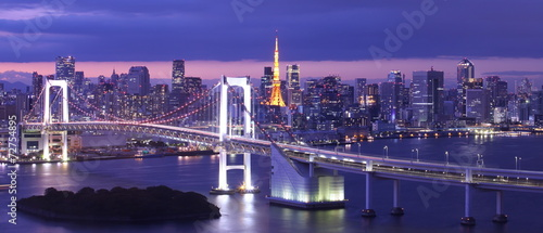Poster Tokyo view of Tokyo Bay , Rainbow bridge and Tokyo Tower landmark