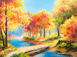 Oil painting landscape - colorful autumn forest - 72755430