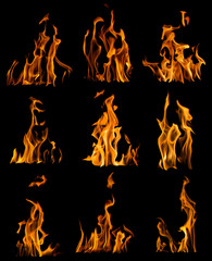collection of nine yellow flames isolated on black