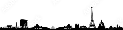 Black and White Paris Skyline Silhouette - 72755613