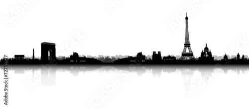 Fotobehang Parijs Paris Skyline Silhouette
