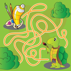 Maze for children - help the turtle get to paints