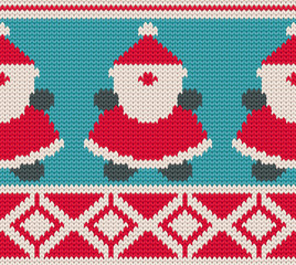 Cute knitting background with cheeful Santa Clauses