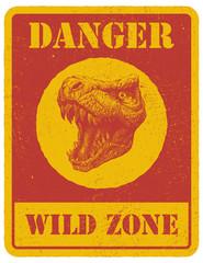 warning sign. danger signal with dinosaur. eps 8