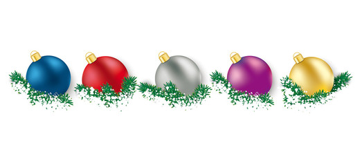 5 Colored Christmas Baubles  Green Twigs