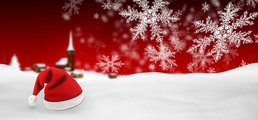 Weihnachtskarte, roter Hintergrund, Weihnachtsmütze, Background