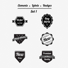 Set 1 elements, labels and badges in a retro style