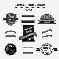 Set 2 elements, labels and badges in a retro style