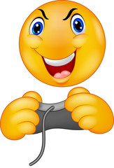Emoticon smiley playing video game