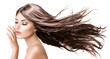 canvas print picture - Fashion Model Girl Portrait with Long Blowing Hair
