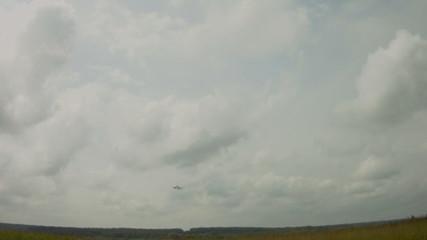jet fighter landing over camera