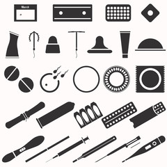 All modern types and contraception methods. Icons.
