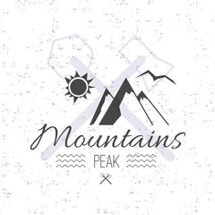 Print on t-shirt design theme of the mountains peak and hike