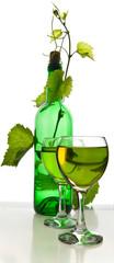 bottle of wine in the vine