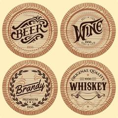 set vector template wooden barrels for alcoholic beverages