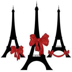 eiffel tower with a present bow design set