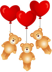 Teddy bears flying with heart balloons
