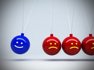 3d pendulum opposite mood happy and boring concept