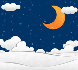 Snow in night Sky and Crescent Moon