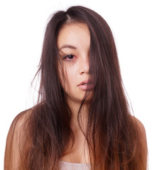 sad young asian woman